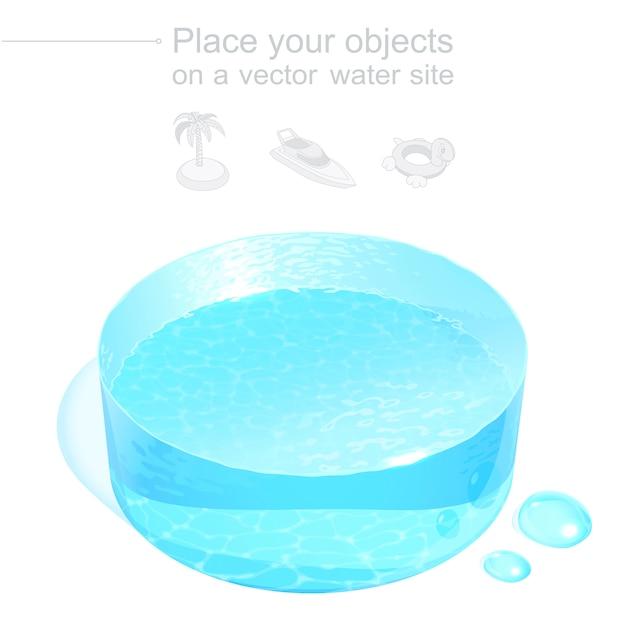 Реалистичный 3d водяной диск. голубой жидкий подиум. изометрический шаблон для размещения любых объектов, связанных с водным отдыхом, морскими путешествиями или очисткой. файл с прозрачной сеткой градиента. Premium векторы
