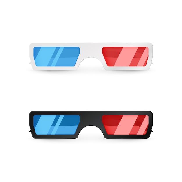 Реалистичные 3d вид спереди белые и черные очки Premium векторы