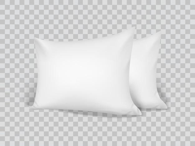 Realistic 3d white pillows. closeup. front view Premium Vector