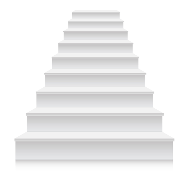 Realistic 3d white stair step Premium Vector