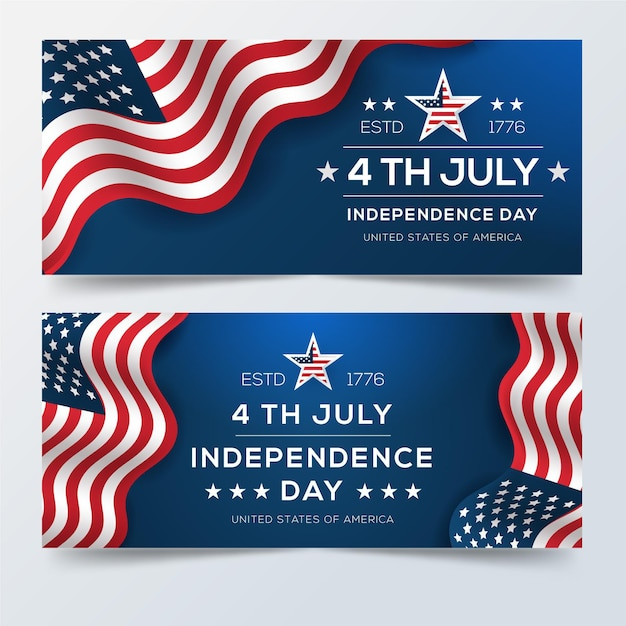 Realistic 4th of july - independence day banners Free Vector