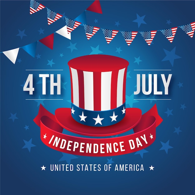 Realistic 4th of july - independence day Free Vector