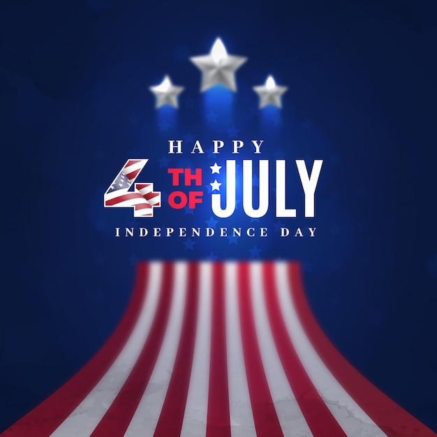 Realistic 4th of july independence day Free Vector