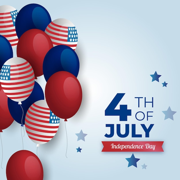 Realistic 4th of july and usa flag balloons Free Vector