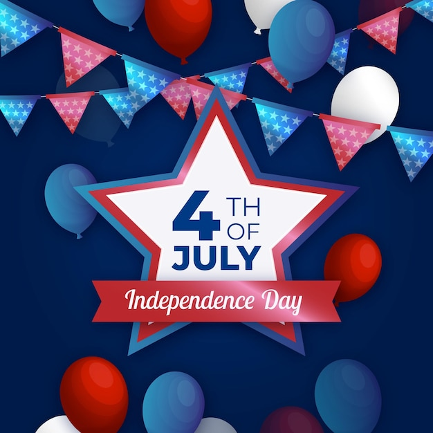 Realistic 4th of july with balloons Free Vector