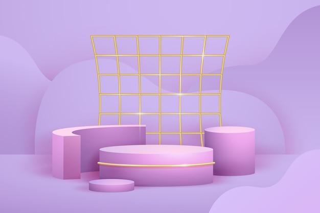 リアルな抽象的な幾何学的な金箔の3d形状 無料ベクター