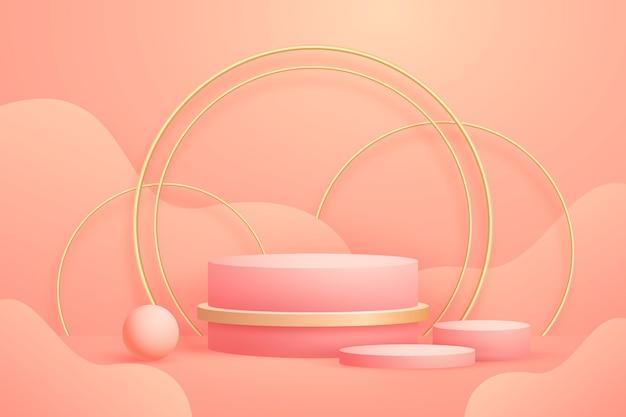 Forme 3d sventate oro geometriche astratte realistiche Vettore gratuito