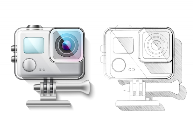 Realistic action camera in box  render and blueprint Premium Vector