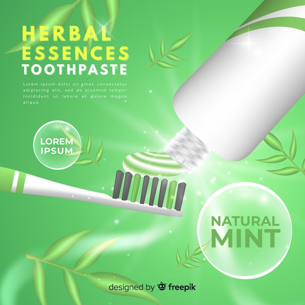 Realistic ad of fresh toothpaste Free Vector