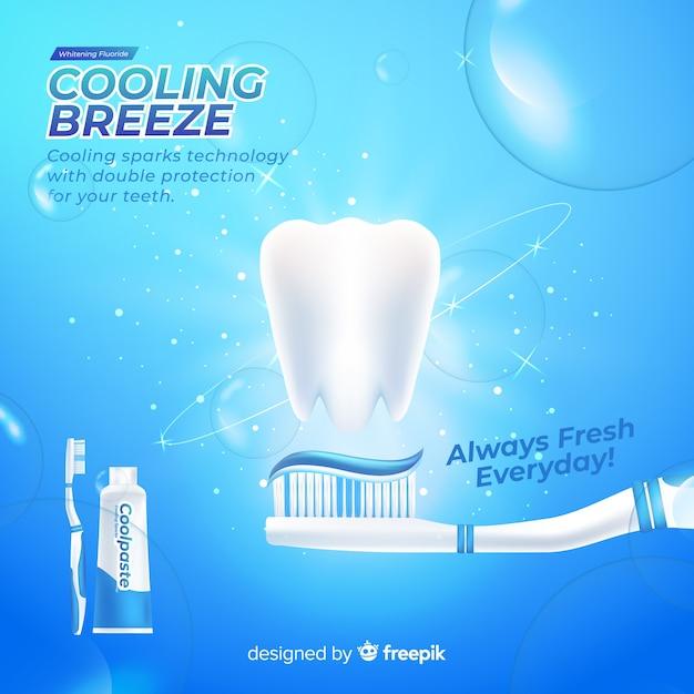 Реалистичная реклама свежей зубной пасты Бесплатные векторы
