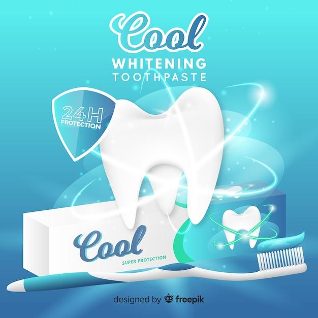 新鮮な歯磨き粉のリアルな広告 Premiumベクター