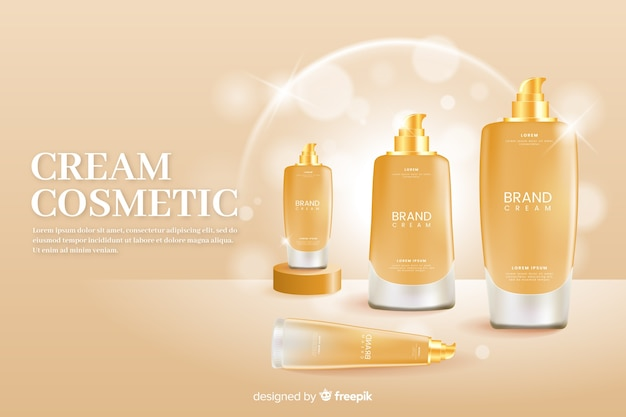 Realistic ad template for natural cream Free Vector