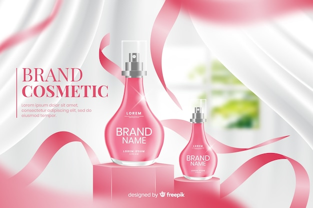 Realistic ad template for perfume Free Vector