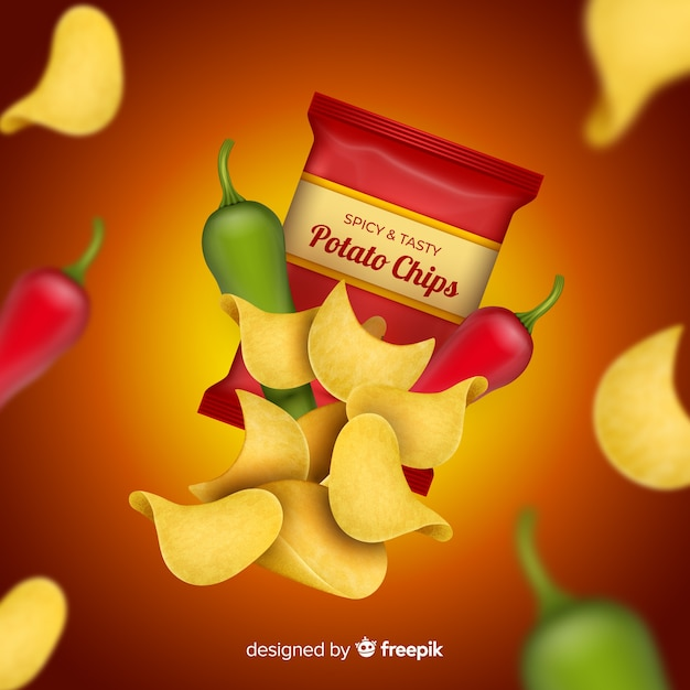 Realistic advertisement chips Free Vector