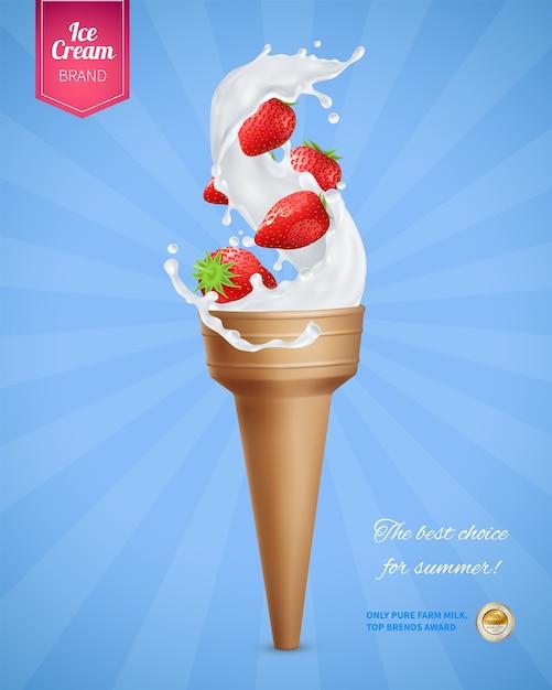 アイスクリームコルネットとイチゴの現実的な広告構成 無料ベクター