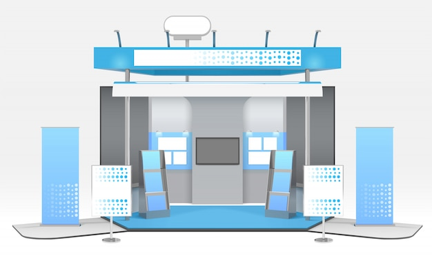 Realistic advertising exhibit booth composition Free Vector