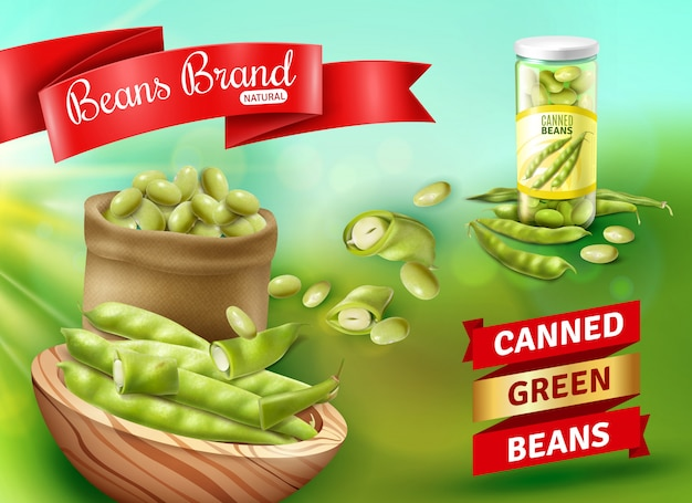 Realistic advertising illustration with natural canned green beans Free Vector