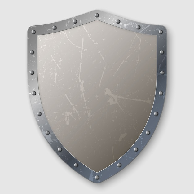 Realistic aged metal shield isolated Premium Vector
