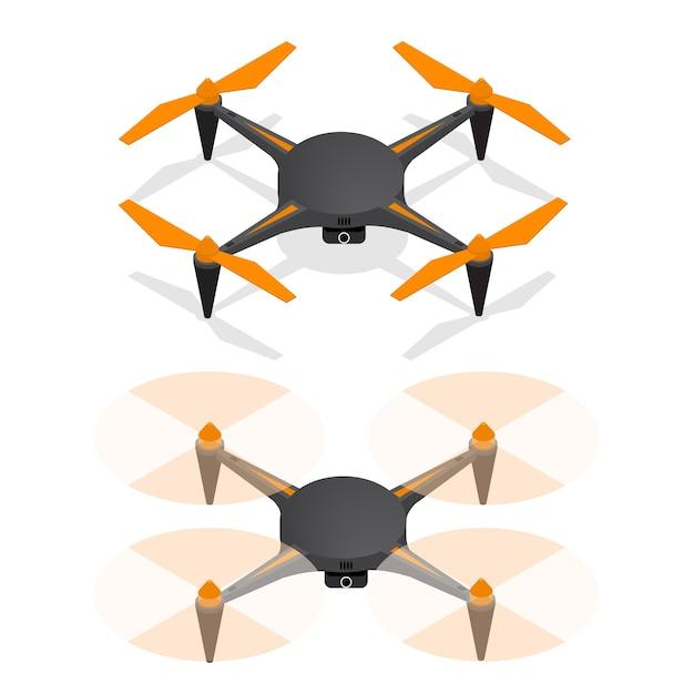 空に浮かぶリアルなエアドローンクワッドコプターで、モニタリングとビデオアイソメビューのためにオフになっています。 Premiumベクター