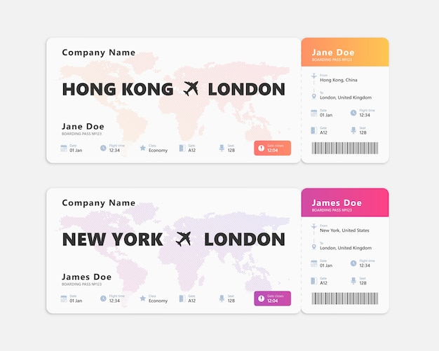 Realistic air ticket isolated. concept design of boarding pass ticket. Premium Vector