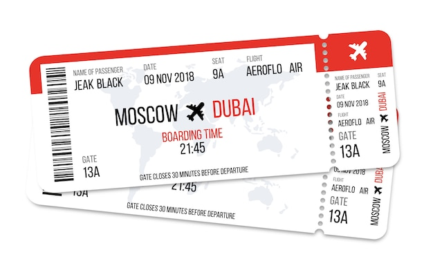 Realistic airline ticket design with passenger name. Premium Vector