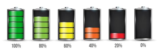 Realistic alkaline battery set. Premium Vector