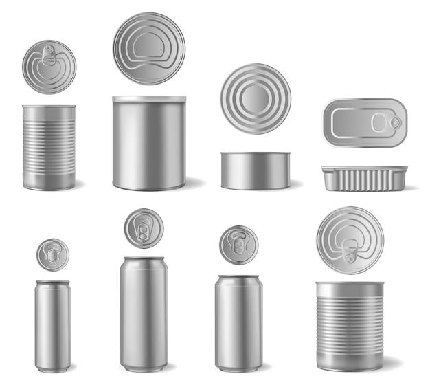 현실적인 알루미늄 캔. 음료 및 통조림 식품 캔, 금속 포장 다른 모양 전면 및 평면도 세트. 음료 맥주 용기, 알루미늄 그림 프리미엄 벡터