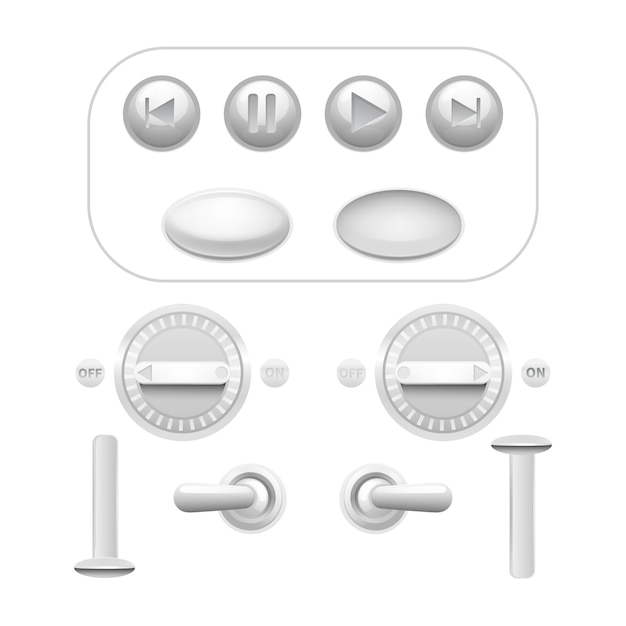 Realistic analog button and trigger set Free Vector