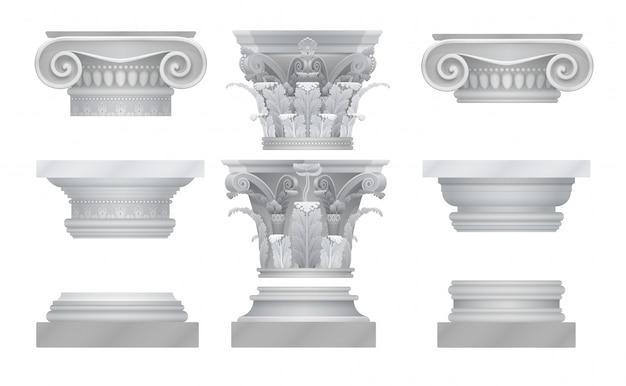 Реалистичные древнегреческие столицы римской колонны установлены. Premium векторы