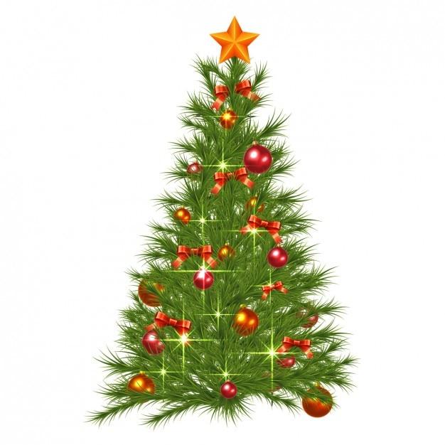 Christmas Tree Decorations Vector Free : Realistic and shiny christmas tree with decorations vector