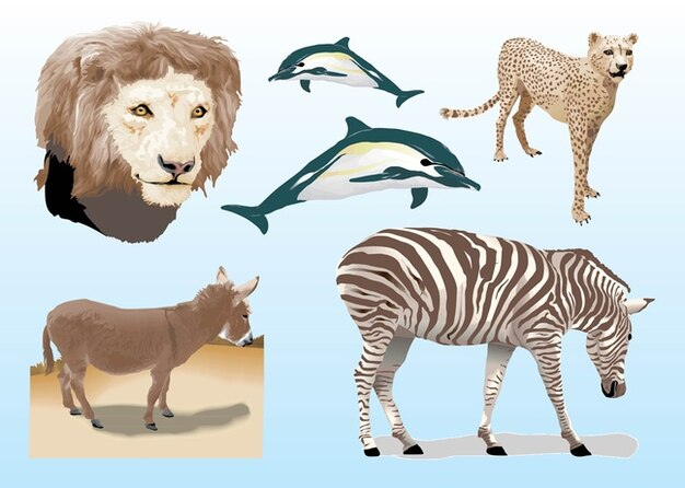 Realistic Animals Vectors Free Vector
