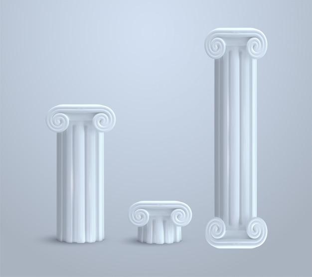 Реалистичная античная ионная колонна на белом фоне иллюстрации Premium векторы