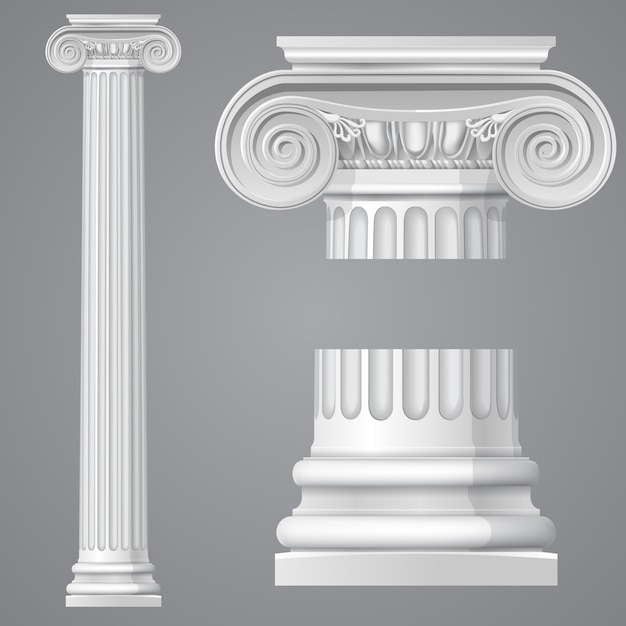 Реалистичная античная ионная колонна Premium векторы