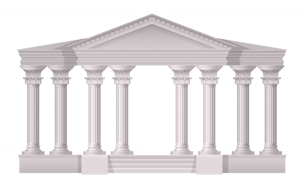 Realistic antique white columns realistic composition on white Free Vector