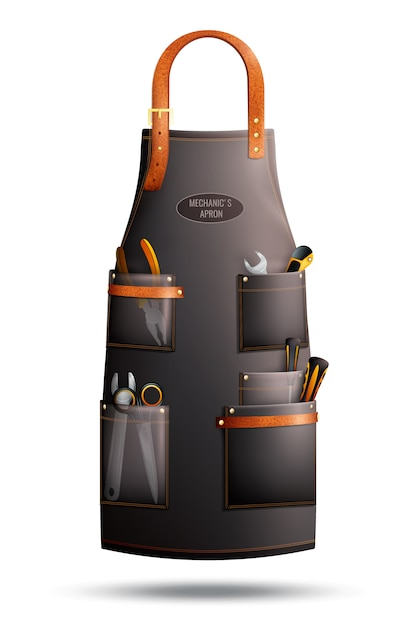 Realistic apron for mechanic Free Vector