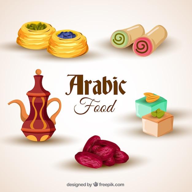 realistic arabic food pack free vector