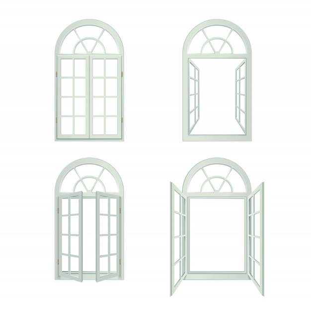 Realistic arched windows set Free Vector