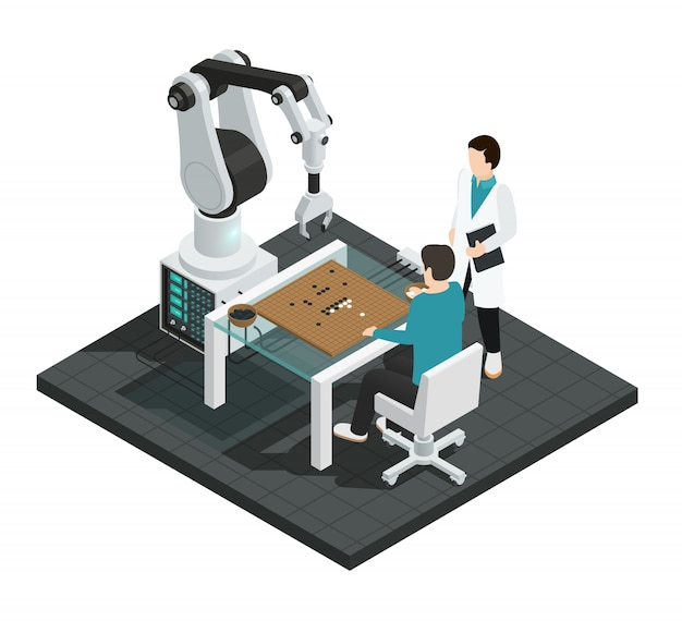 Realistic artificial intelligence isometric colored composition with robot against human Free Vector