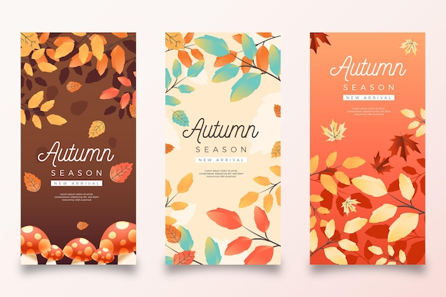 Realistic autumn banners set Premium Vector