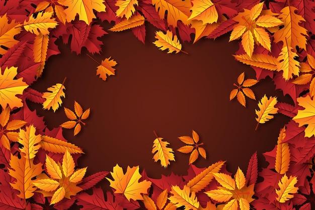 Реалистичные осенние листья обои Бесплатные векторы