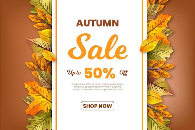 Realistic autumn sale banner Premium Vector