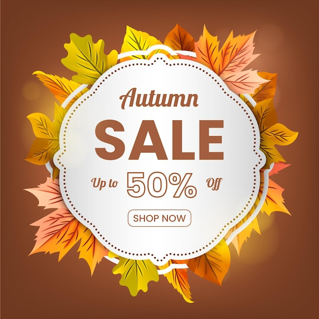 Realistic autumn sale banner Free Vector