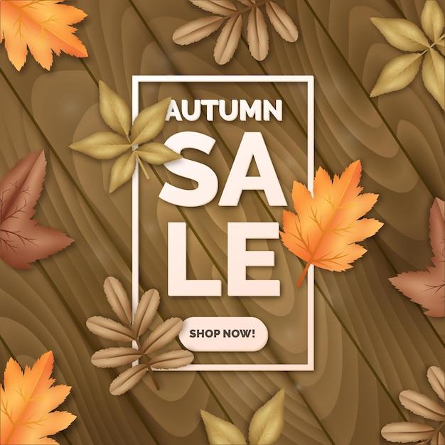 Realistic autumn sale concept Free Vector