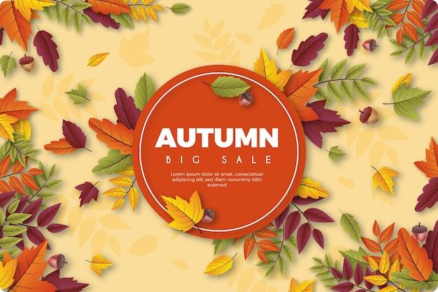 Realistic autumn sale wallpaper Free Vector