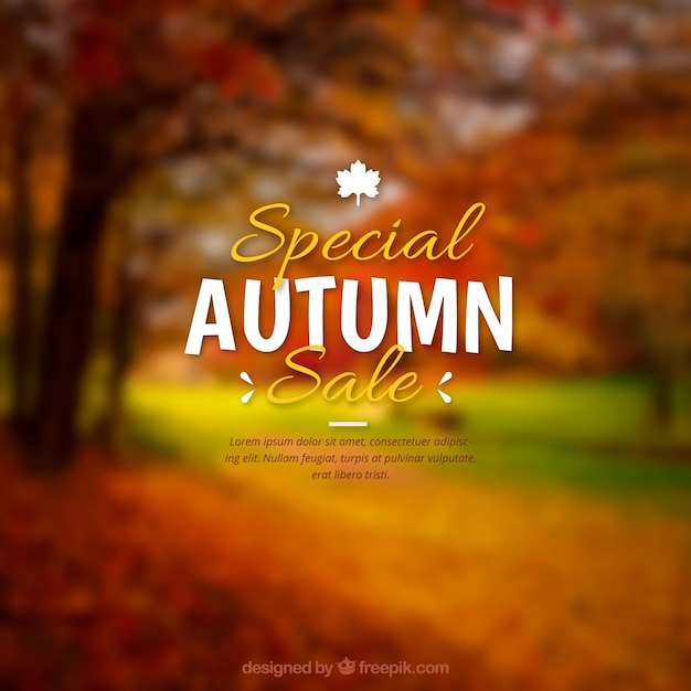 Realistic autumn sale with blurred effect Free Vector