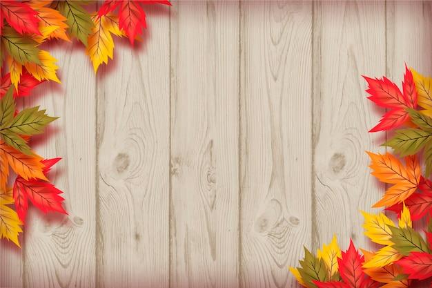 現実的な秋の壁紙のテーマ 無料ベクター