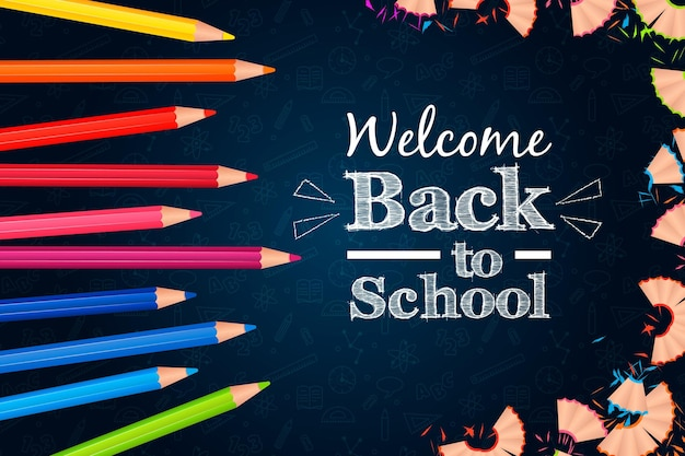 Realistic back to school background with pencils Free Vector