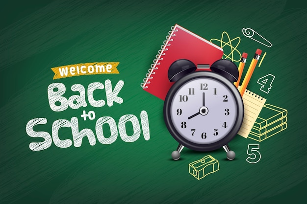 Realistic back to school background Free Vector