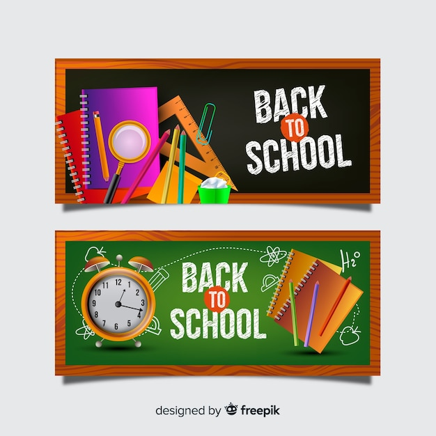 Realistic back to school banners Free Vector