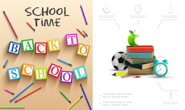 Realistic back to school composition with bitten apple books alarm clock colorful pencils soccer ball ruler cubes with letters Free Vector